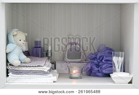 Soft Lavender And White Bathtime Items For A Relaxing Tranquil Bath.  Hygge Concept.