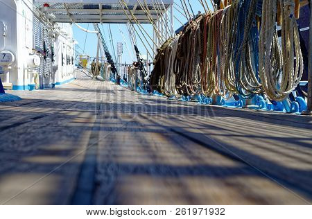 Old Russian Sailing Ship With Old Deck Superstructures Under Bright Sun