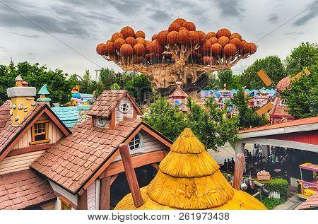 Castelnuovo Del Garda, Italy - May 1: Giant Tree Inside Gardaland Amusement Park, Near Lake Garda, I