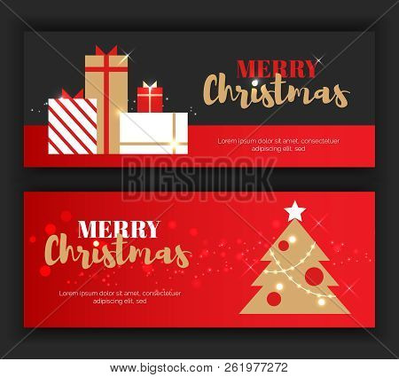 Modern Flat Merry Christmas New Year Greeting Cards Vertical Banners Concept.newyear Gift Boxes, New