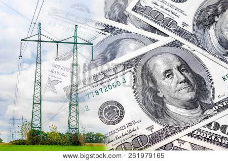 Electric High-voltage Line Network On A Background Of Money Close-up. The Concept And Symbol Of Rais