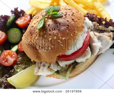 A fried fish fillet in a burger bun, with lettuce and tomato and topped with a creamy sauce. Served with a salad and french fries.