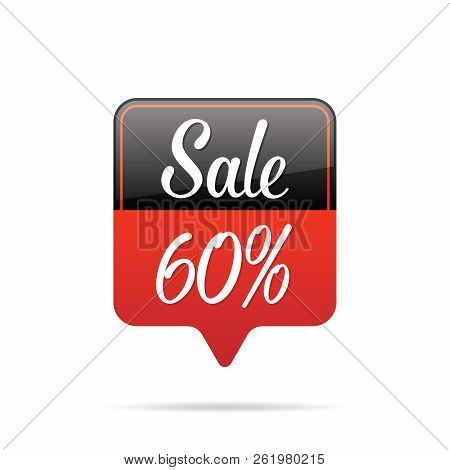 Vol.6 Sale Sign Set Remind Box Black & Red 60 Percent Heading Design For Banner Or Poster. Sale And