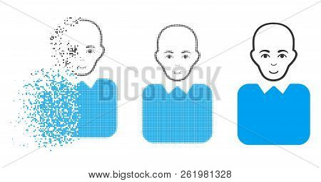 Bald Bureaucrat Icon With Face In Dissolved, Pixelated Halftone And Undamaged Solid Versions. Partic