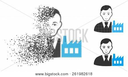 Capitalist Oligarch Icon With Face In Fractured, Dotted Halftone And Undamaged Entire Versions. Piec