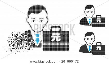 Yuan Renminbi Accounter Icon With Face In Dispersed, Dotted Halftone And Undamaged Whole Variants. F