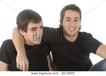 Portrait Of Two Friends On White Background
