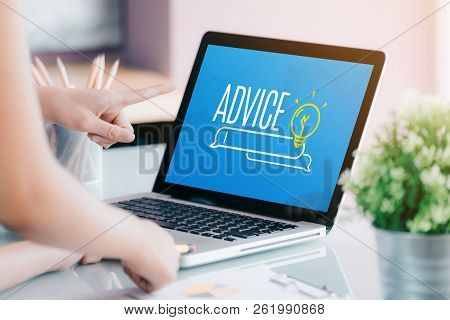 Close Up Businesswoman Hand Point At Laptop Screen With Advice Funciton On Screen At Office.business