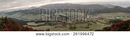 View From Kecka Hill In Sulovske Skaly Mountains In Slovakia With Rural Landscape With Sulov - Hradn