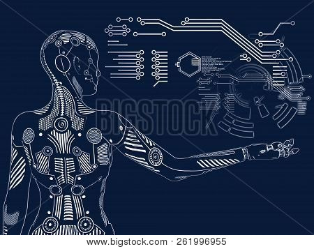 3d Rendering Illustration Of A Robot Woman Standing With Its Back Agianst The Camera, Holding Her Ar