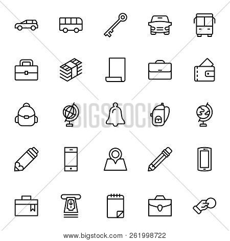 Hotel Service Flat Icon Set. Single High Quality Outline Symbol Of Info For Web Design Or Mobile App