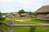 Travel in Russia. Ancient peasant household poster