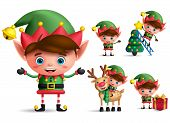 Boy christmas elf vector character set. Little kid elves with green costume holding christmas gifts and elements isolated in white background. Vector illustration. poster
