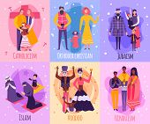 Colored different religious people family card set with Catholicism islam voodoo Hinduism Judaism and orthodox Christian descriptions vector illustration poster