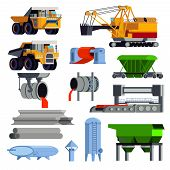 Isolated and flat steel production metallurgy icon set with operating machines and containers for transportation vector illustration poster