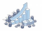Success and income growing up concept, growth chart stats bar with cash money stack isolated on white background. Vector 3d isometric business and finance illustration, thin line design. poster