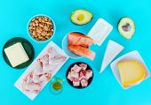 Ketogenic diet food. Low-carb food background, fish, meat, cheese, nuts, oil and butter on a blue background. mockup,  flatlay, flat lay Top view Keto diet concept. poster