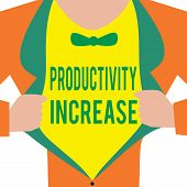 Handwriting text Productivity Increase. Concept meaning get more things done Output per unit of Product Input poster