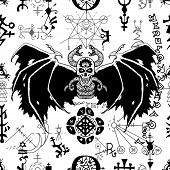 Seamless pattern with black winged demon and mysterious symbols on white. Esoteric, occult and wicca concept, Halloween illustration with mystic symbols and sacred geometry poster
