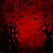 Halloween bloody red grunge background with silhouettes of bats, terrible dead tree, castle, webs and spiders on dark spooky night sky. Halloween, horror concept. Space for text. poster