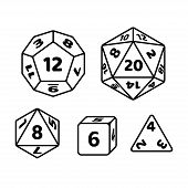Set of polyhedron dice for fantasy RPG tabletop games. d20, d12, d8 and cube with numbers on sides. Black and white vector icons. poster