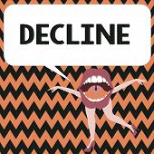 Word writing text Decline. Business concept for Become smaller fewer less Decrease Politely refuse reject say no poster