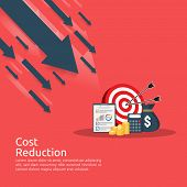 business finance crisis concept. stack pile coins and money bag icon. arrow decrease economy stretching rising drop. lost bankrupt declining. cost reduction. loss of income. vector illustration poster