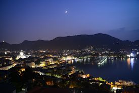 Night View Of The Lake And City Como, Italy