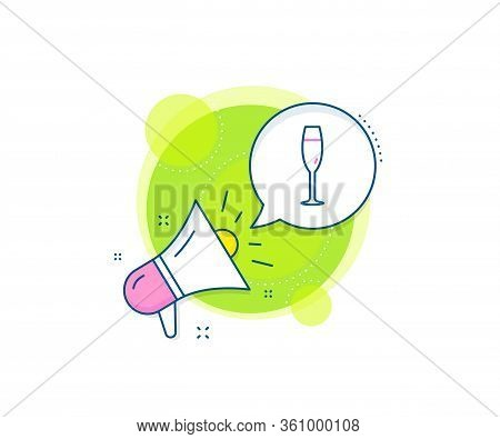 Wine Glass Sign. Megaphone Promotion Complex Icon. Champagne Glass Line Icon. Business Marketing Ban