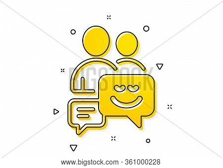 Human Communication Symbol. Group Of Men Icon. Teamwork Sign. Yellow Circles Pattern. Classic Commun