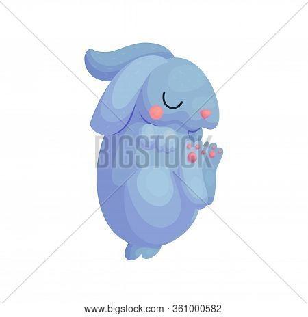 Cute Sleeping Hare Cartoon Character Kids Illustration. Happy Little Baby Animal Sleep. Nursery Nap