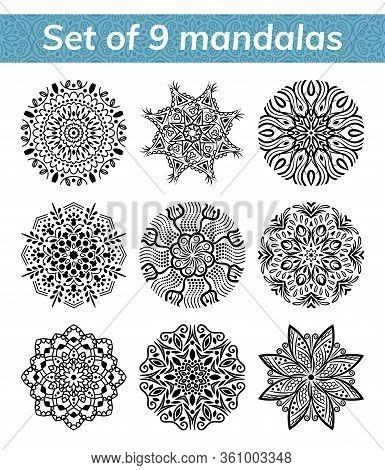 Mandala Set. Indian Antistress Medallion. Abstract Islamic Flower, Arabic Henna Design, Yoga Symbol