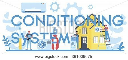 Air Conditioning System And Instalation Service Typographic Header