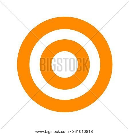 Orange Round Symbol Isolated On White, Circle Icon For Shooting Target Arrow Aiming, Target For Spor