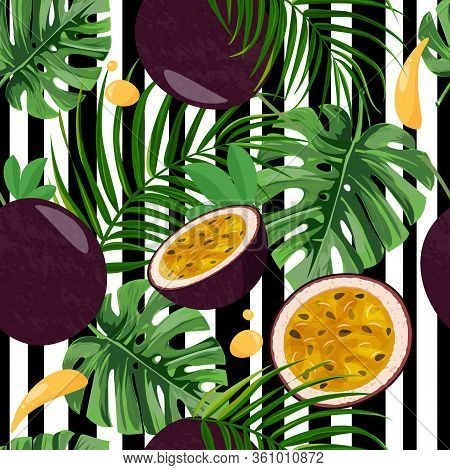Seamless Pattern With Whole Passion Fruit And Half On White And Black Stripped Background. Tropical