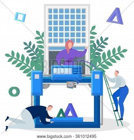 Team Of Engineers Print On A 3d Printer Vector Illustration. Team Of Engineers Print On A 3d Printer