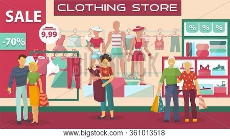Clothing Buyers On Sale At Store, People Young And Adults Shop At Boutique Against Background Of Win