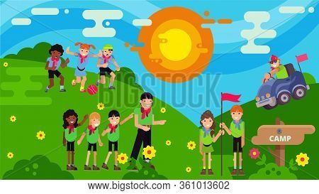 Children In The Camp Actively Play In The Clearing With A Counselor, Flat Vector Illustration. The B