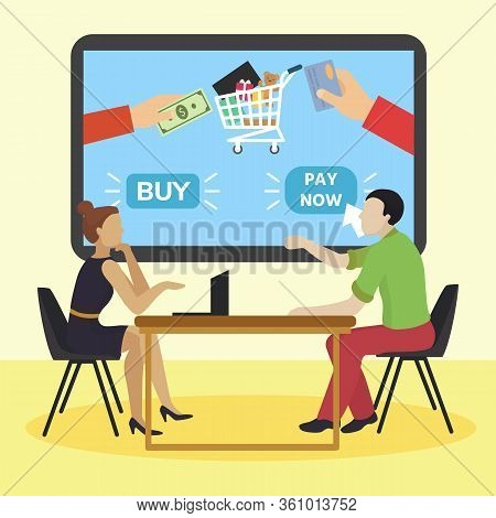 Co Workers Meeting On Business Dinner, Colleagues Consultation Online Marketing, Flat Vector Illustr