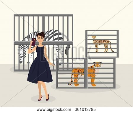 African Animal In Cage, Stop Wearing Fur, Not Eco Friendly Luxury Woman, Flat Vector Illustration. K