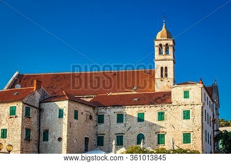 Historic Buildings And The Franciscan Monastery With The Bell Tower In Sibenik, Croatia, Europe.