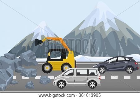 Clearing Rubble On Highway, Construction Equipment Remove Rock From Road, Flat Vector Illustration.