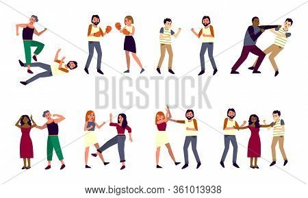 People Fighting And Quarrelling Set. Collection Of People Arguing