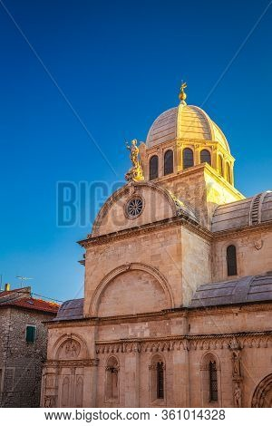 The Cathedral Of St. James At Sunset, A Triple-nave Basilica In Sibenik, Croatia, Europe.