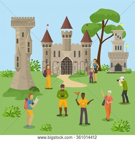 Group Tourists Excursion Medieval Ruins, People Travel Team Explore European Castle, Flat Vector Ill
