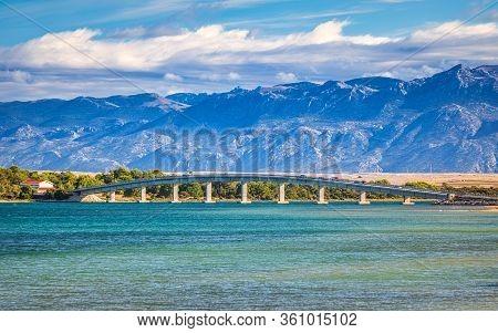 Sea Landscape, Bridge To Vir Island And The Velebit Mountain On Background, Croatia, Europe.