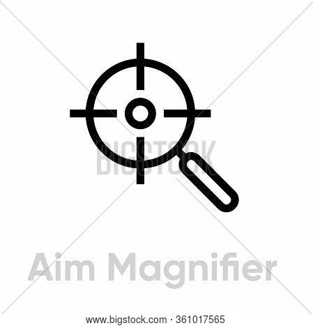 Aim Magnifier Targets Icon. Editable Line Vector.