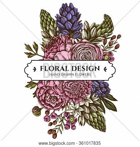 Floral Bouquet Design With Colored Peony, Carnation, Ranunculus, Wax Flower, Ornithogalum, Hyacinth
