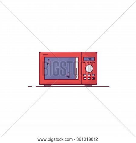 Microwave Oven. Red Modern Microwave With Knob Wheel, Buttons And Glass Door. Outline Vector Image.