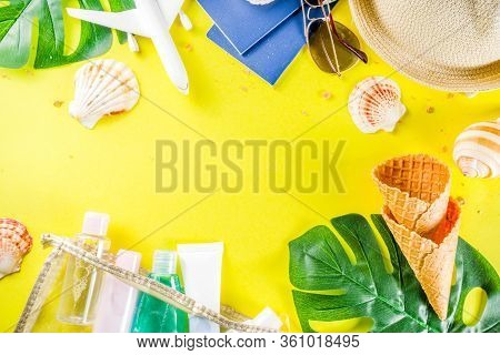 Travel And Vacation Flatlay Concept. Summer Bright Colorful Background With Hat, Sunglasses, Plane,